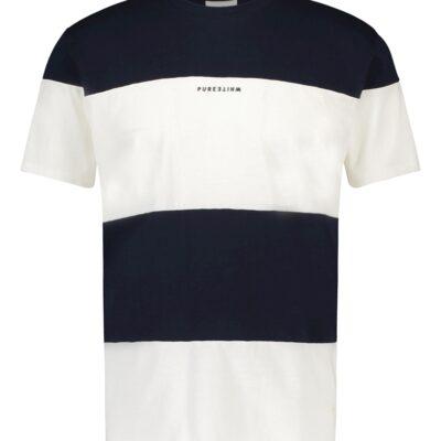 Purewhite Reversed Logo Panel T-shirt Navy White