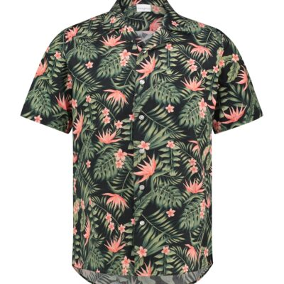 Purewhite Jungle Flowers Shirt Black Coral