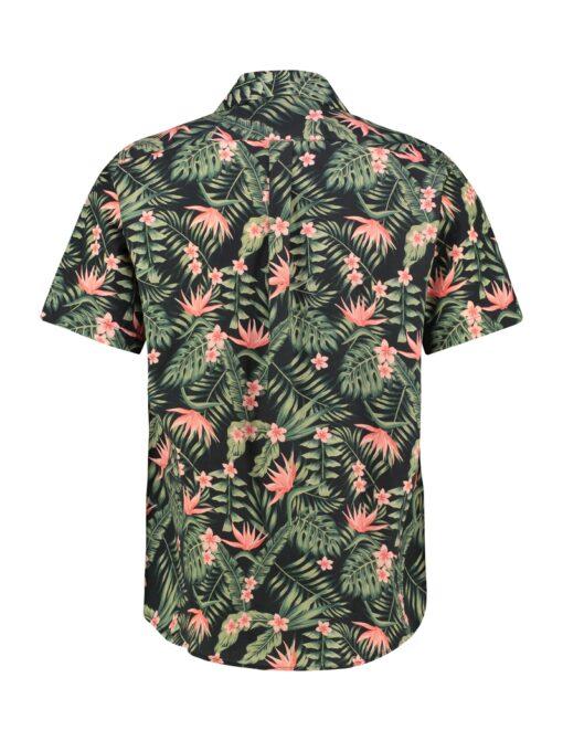 Purewhite Jungle Flowers Shirt Black Coral