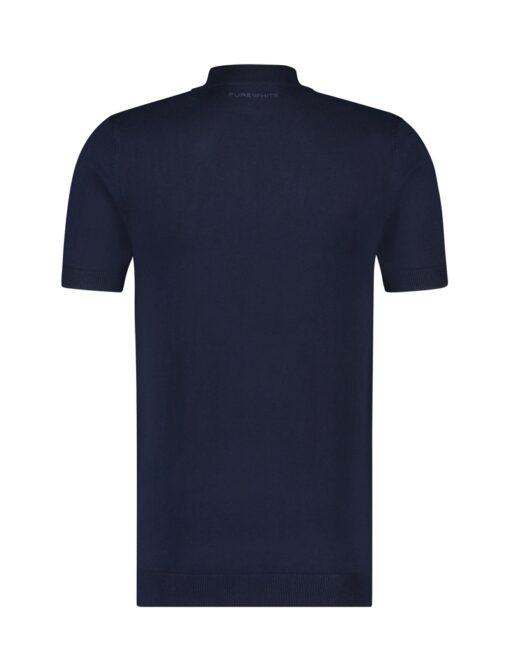 Purewhite Knitted Short Sleeve Mock Neck Navy
