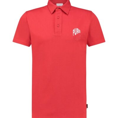 Purewhite Wave Logo Polo Red