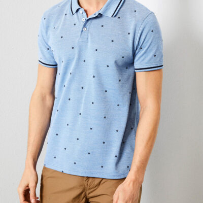 Petrol Industries Flower print polo Antartic Blue