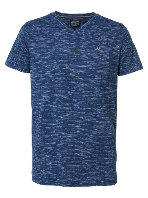 Petrol Industries Striped V-hals T-shirt Petrol Blue