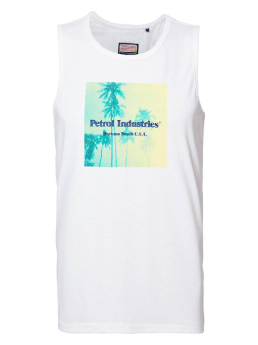 Petrol Industries Daytona Beach artwork singlet Bright White