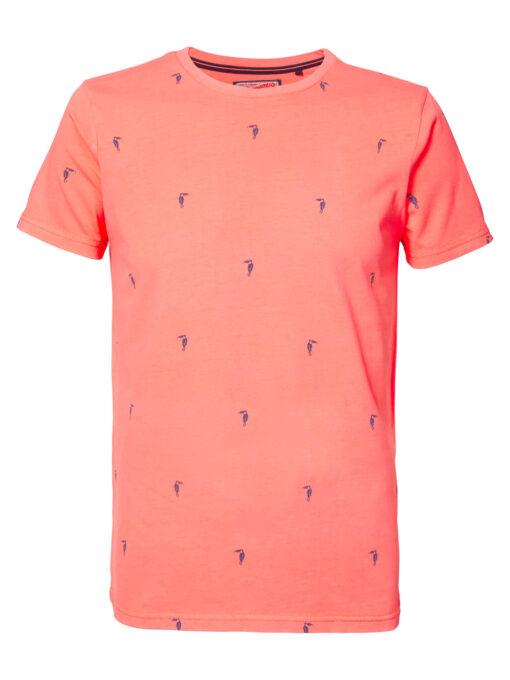 Petrol Industries Miniprint T-shirt Fiery Coral