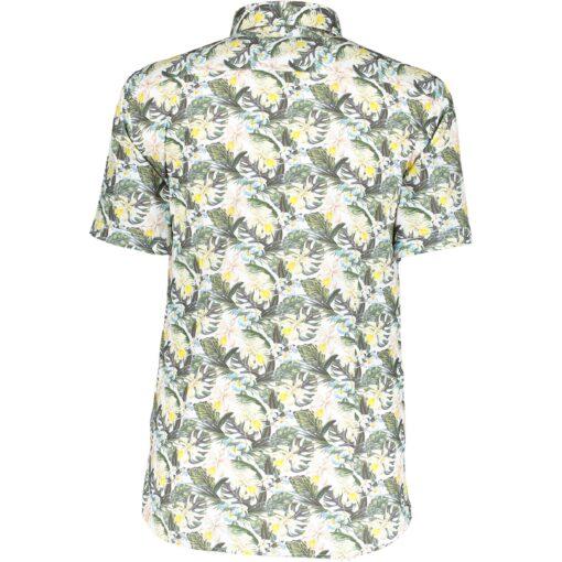 State of Art Stretch overhemd van katoen lichtgeel/mosgroen