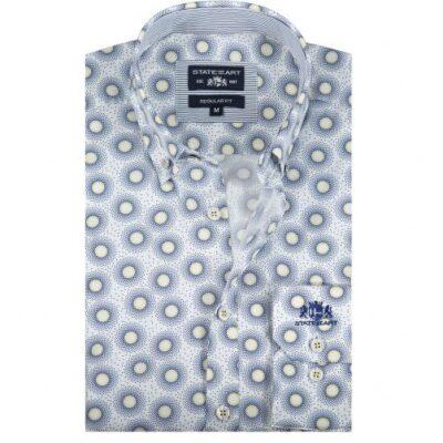 State of Art Overhemd met een all-over print Kobalt/lichtgeel