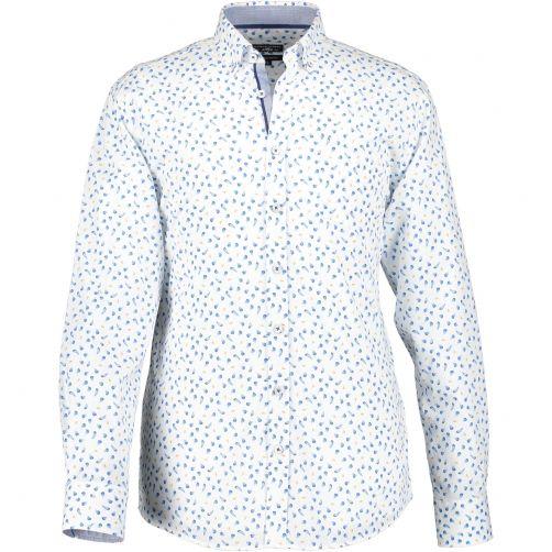 State of Art Regular fit overhemd van katoen-stretch Jade/Kobalt