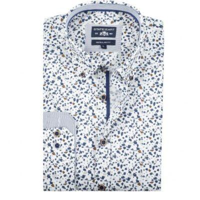 State of Art Stretch overhemd met een all-over print Kobalt/Cognac