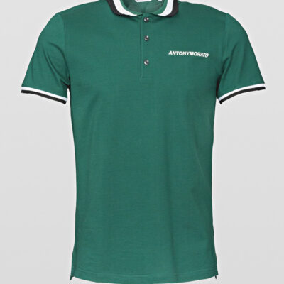 Antony Morato Polo pique emerald katoen rubber logo