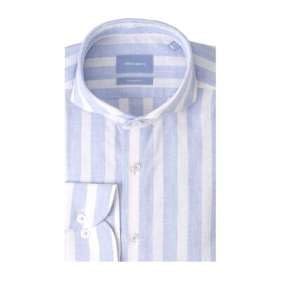 Tresanti Terry | Shirt block stripe cotton/linen light blue
