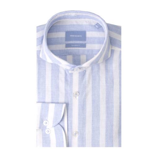 Tresanti Terry | Shirt block stripe cotton/linen light blue