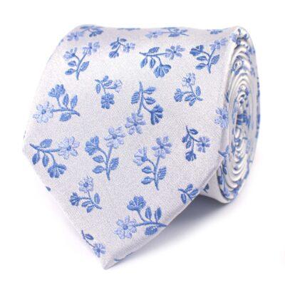 Tresanti zijden stropdas blue flowers