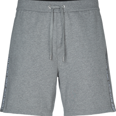 CALVIN KLEIN KORTE JOGGINGBROEK MET LOGO OP ZIJKANT MID GREY HEATHER