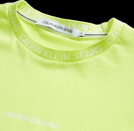 CALVIN KLEIN SLIM T-SHIRT MET LOGO SAFETY YELLOW