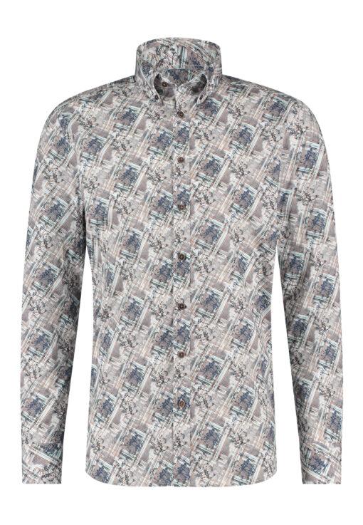 State of Art Overhemd van katoen met stretch wit grijs/kobalt