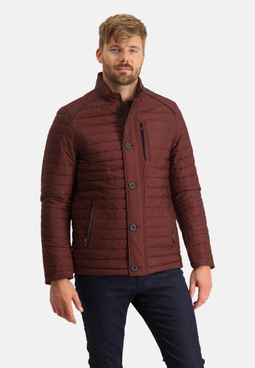 State of Art Halflange jas met opstaande kraag brique/donkerblauw