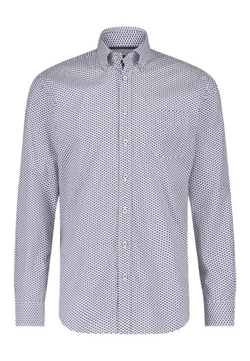 State of Art Overhemd met button down kraag kobalt/wit grijs