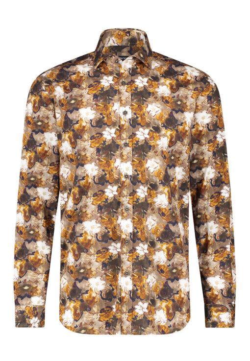 State of Art Overhemd van poplin stof mango/donkerbruin