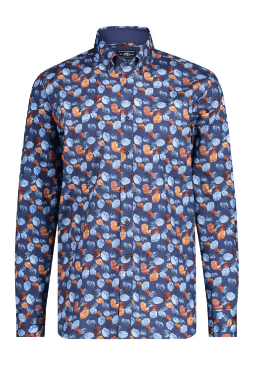 State of Art Button down overhemd met print donkerblauw/camel