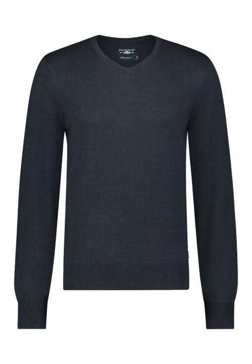 State of Art V-hals trui van mouliné katoen donkerblauw/marine