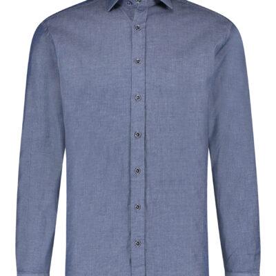 State of Art Overhemd met peach finish kobalt