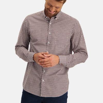 State of Art Overhemd met borstzak brique/donkerblauw