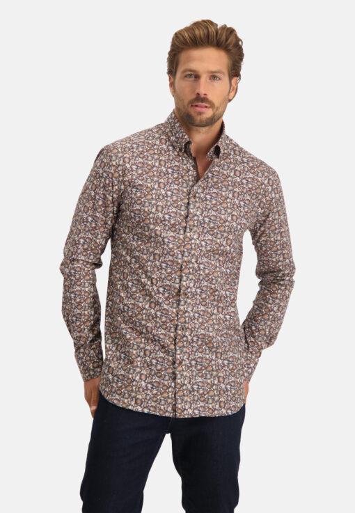 State of Art Overhemd met print en lange mouwen mango/donkerbruin