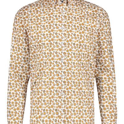 State of Art Overhemd met print en lange mouwen donkerbruin/mango