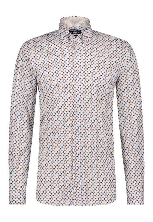 State of Art Overhemd met een all-over print brique/camel