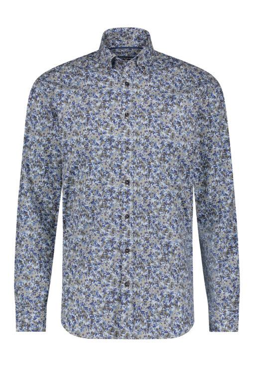 State of Art Overhemd met print en lange mouwen grijsblauw/kobalt