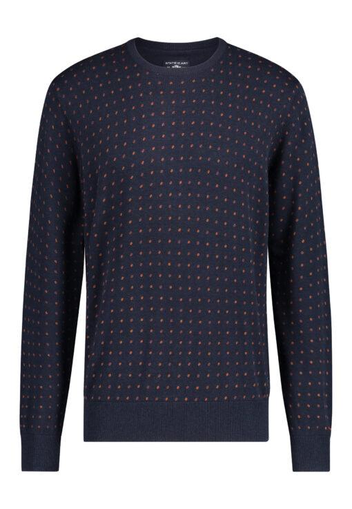 State of Art Fancy trui met ronde hals donkerblauw/brique