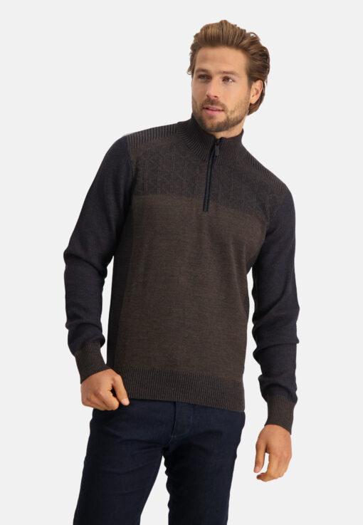 State of Art Regular fit trui met sportzip donkerblauw/donkerbruin