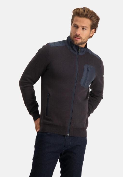 State of Art Vest met nylon details donkerblauw/donkerbruin