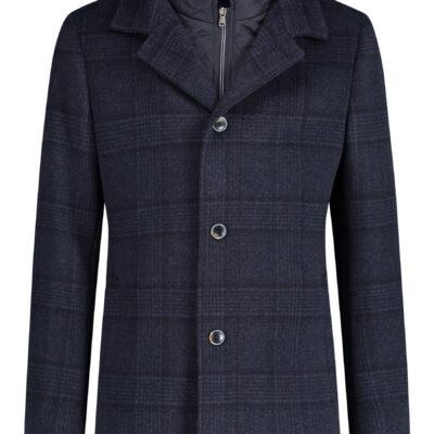 State of Art Geruite jas met moderne fit donkerblauw