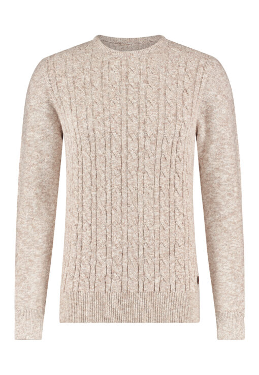 State of Art Kabel gebreide trui met regular fit beige/off-white