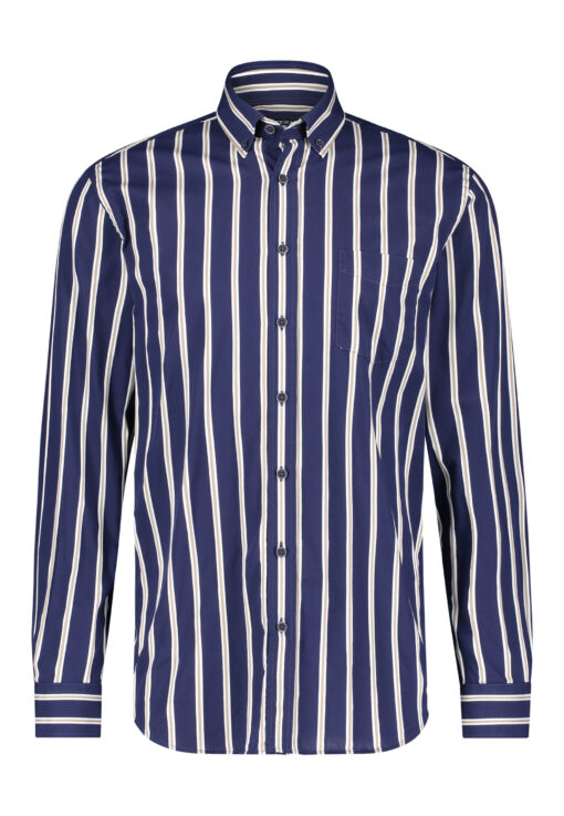 State of Art Katoenen overhemd met streepdessin donkerblauw/wit grijs