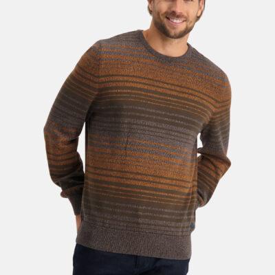 State of Art Gestreepte trui met ronde hals wit grijs/donkerbruin