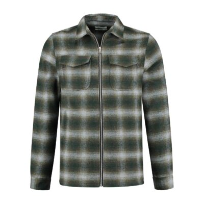 Circle of Trust JONAH ZIP SHIRT MILITAIRY GREEN CHECK