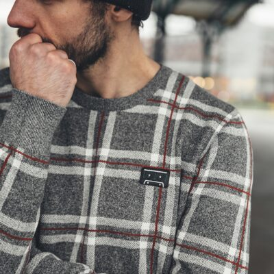 Kultivate Jumper Plaid Light Grey Melange