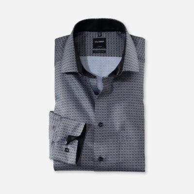 OLYMP Luxor Modern Fit, Zakelijke Overhemd, Global Kent, Zwart