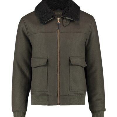 Purewhite Padded Woollen Jacket Army Green