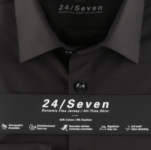 OLYMP Level Five 24/Seven Body Fit, Zakelijke Overhemd, New York Kent, Zwart