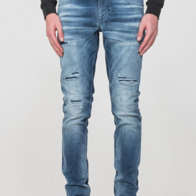 "OZZY"" TAPERED-FIT JEANS IN MID-WASH POWER STRETCH DENIM"