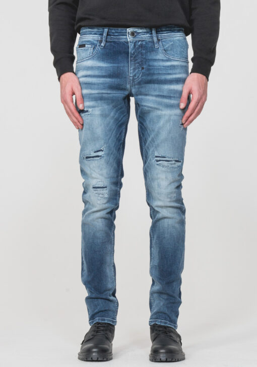 """OZZY"""" TAPERED-FIT JEANS IN MID-WASH POWER STRETCH DENIM"""