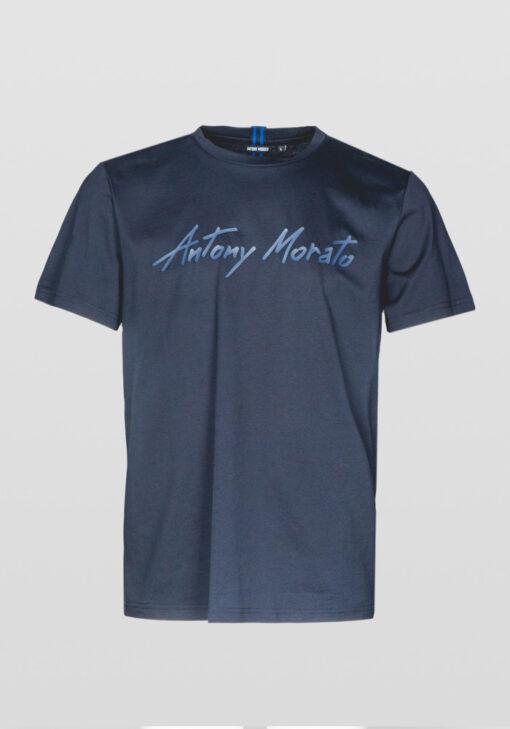 Antony Morato T-SHIRT VAN ZACHT KATOEN MET EEN RUBBER GECOAT LOGO DETAIL Blue Ink