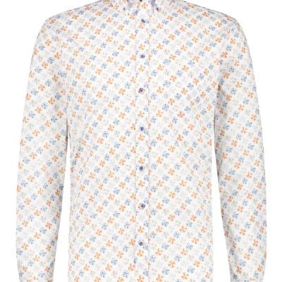 State of Art Stretch overhemd met print mango/kobalt