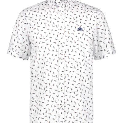 State of Art Overhemd met vogelprint mango/grijsblauw
