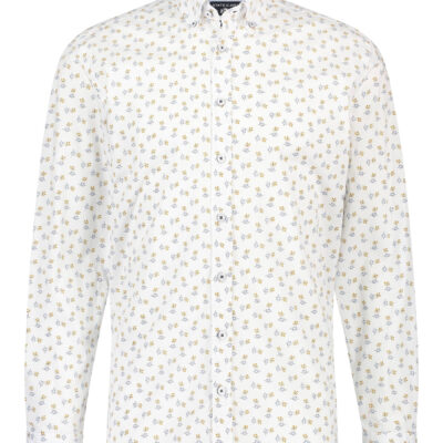 State of Art Overhemd met bloemenprint kobalt/mango
