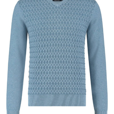 State of Art Fijngebreide V-hals trui middenblauw/grijsblauw